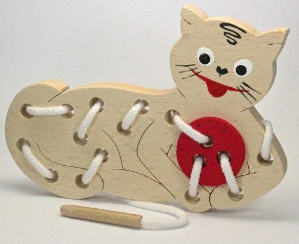 画像1: 木製知育おもちゃ ひも通し (小) ねこ (1)